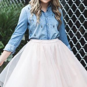 J Crew Collection Beaded Chambray